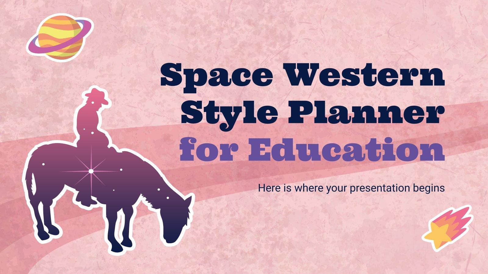 Modelo de apresentação Planejador de estilo western espacial para educação