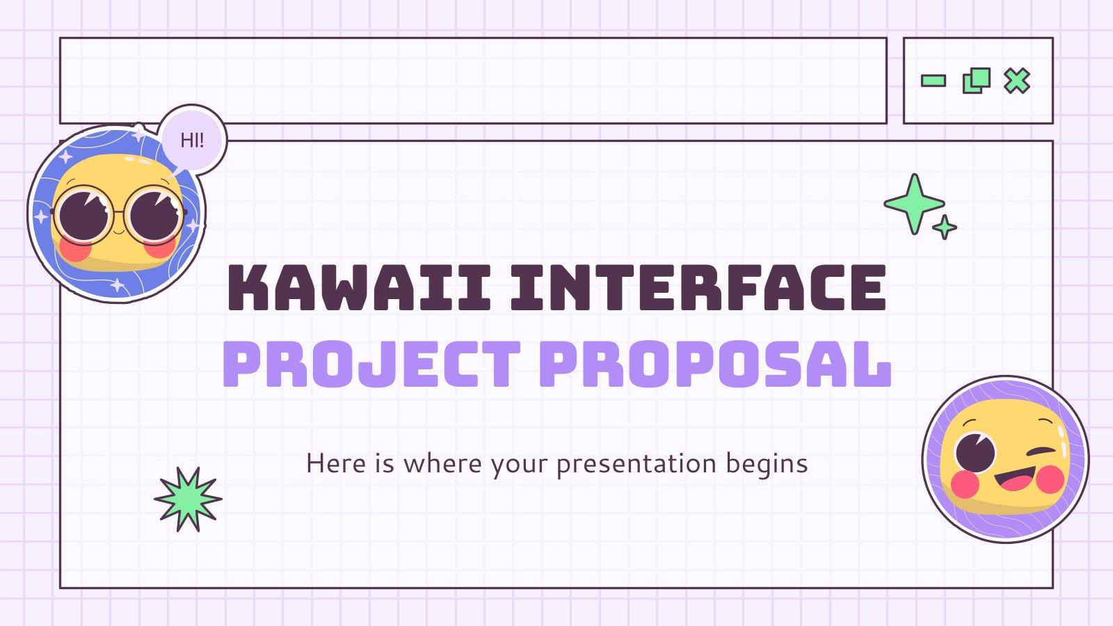 Plantilla de presentación Propuesta de proyecto de interfaz kawaii
