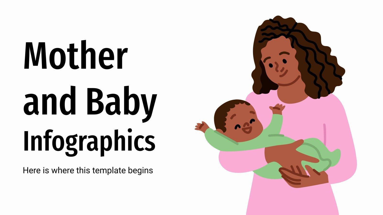 Infografiken zu Müttern und Babys Präsentationsvorlage