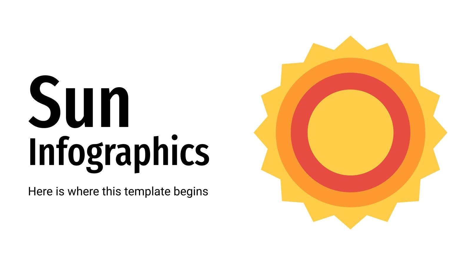 Modelo de apresentação Infográficos do sol