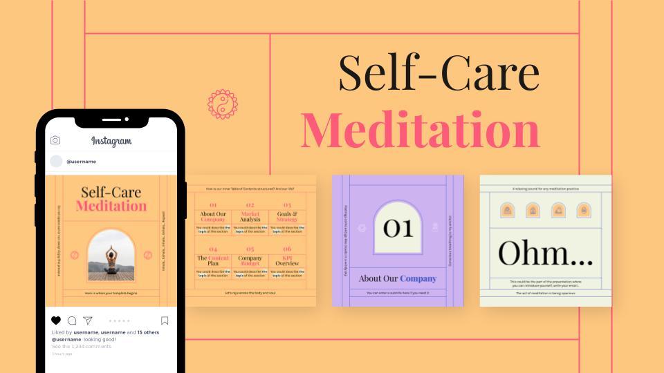 Modelo de apresentação Postagens do Instagram: Meditação de autocuidado