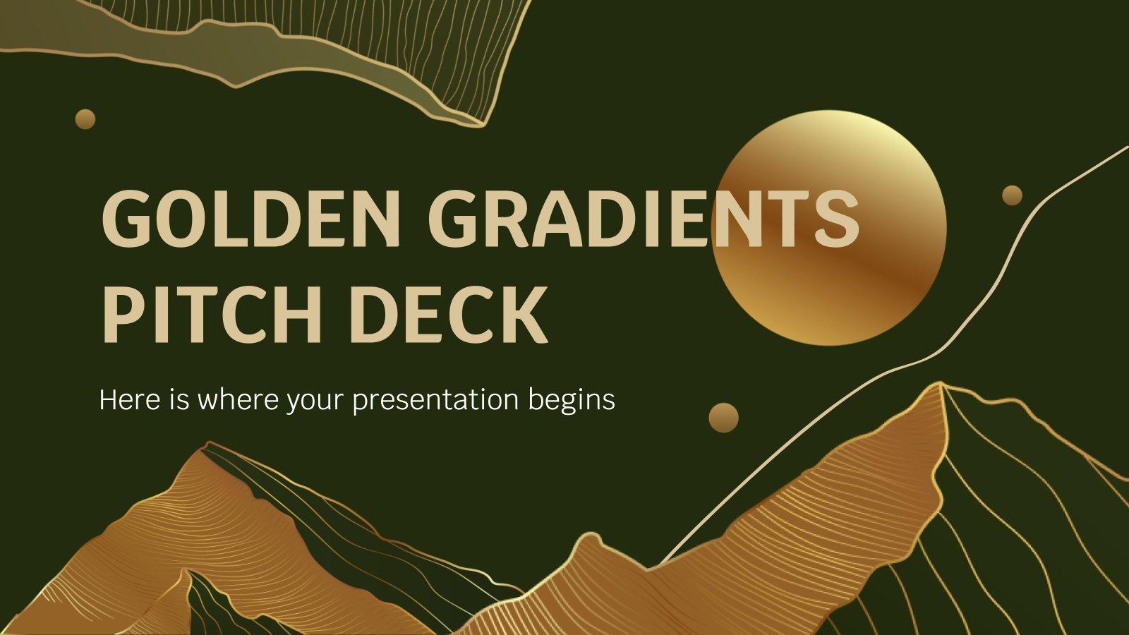 Modelo de apresentação Pitch deck de gradientes de ouro