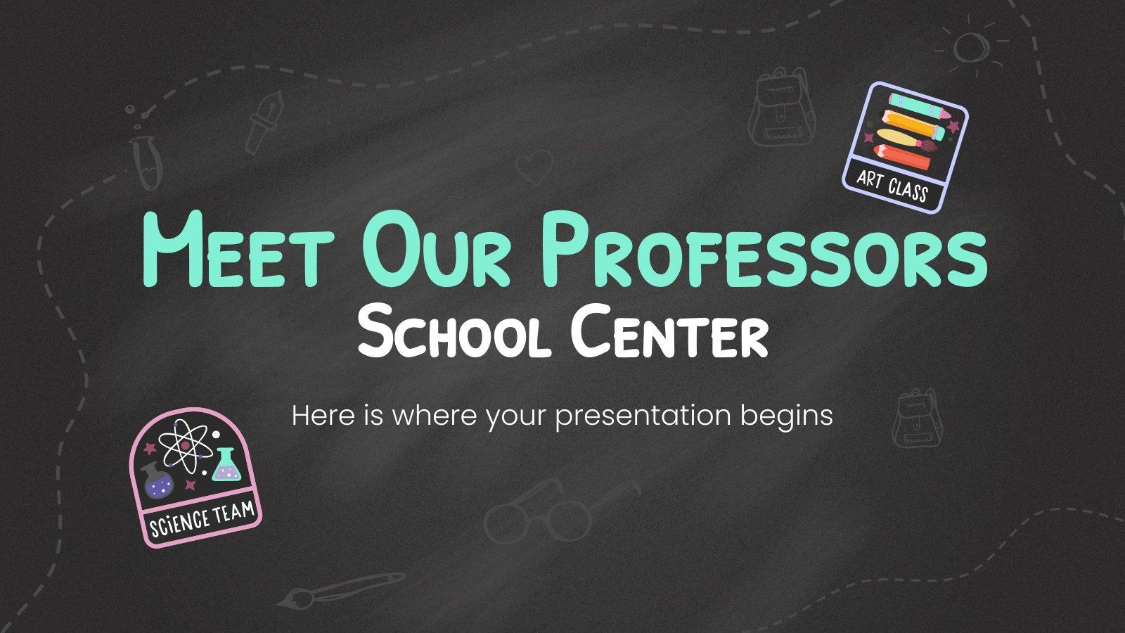 Plantilla de presentación Conoce a nuestros profesores - centro escolar