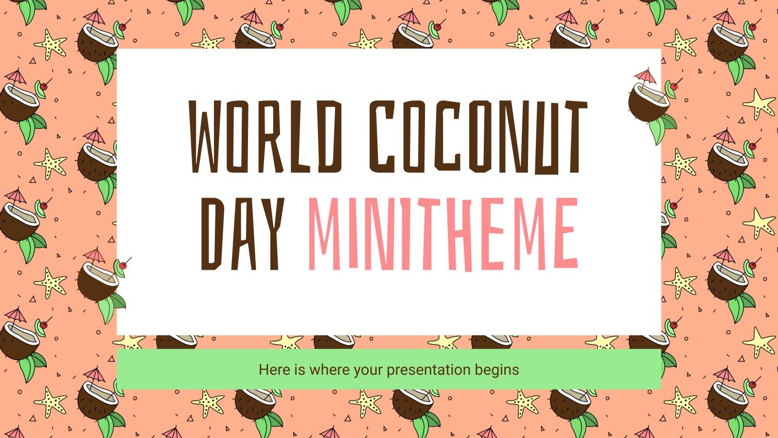 Modelo de apresentação Minitema do Dia Mundial do Coco