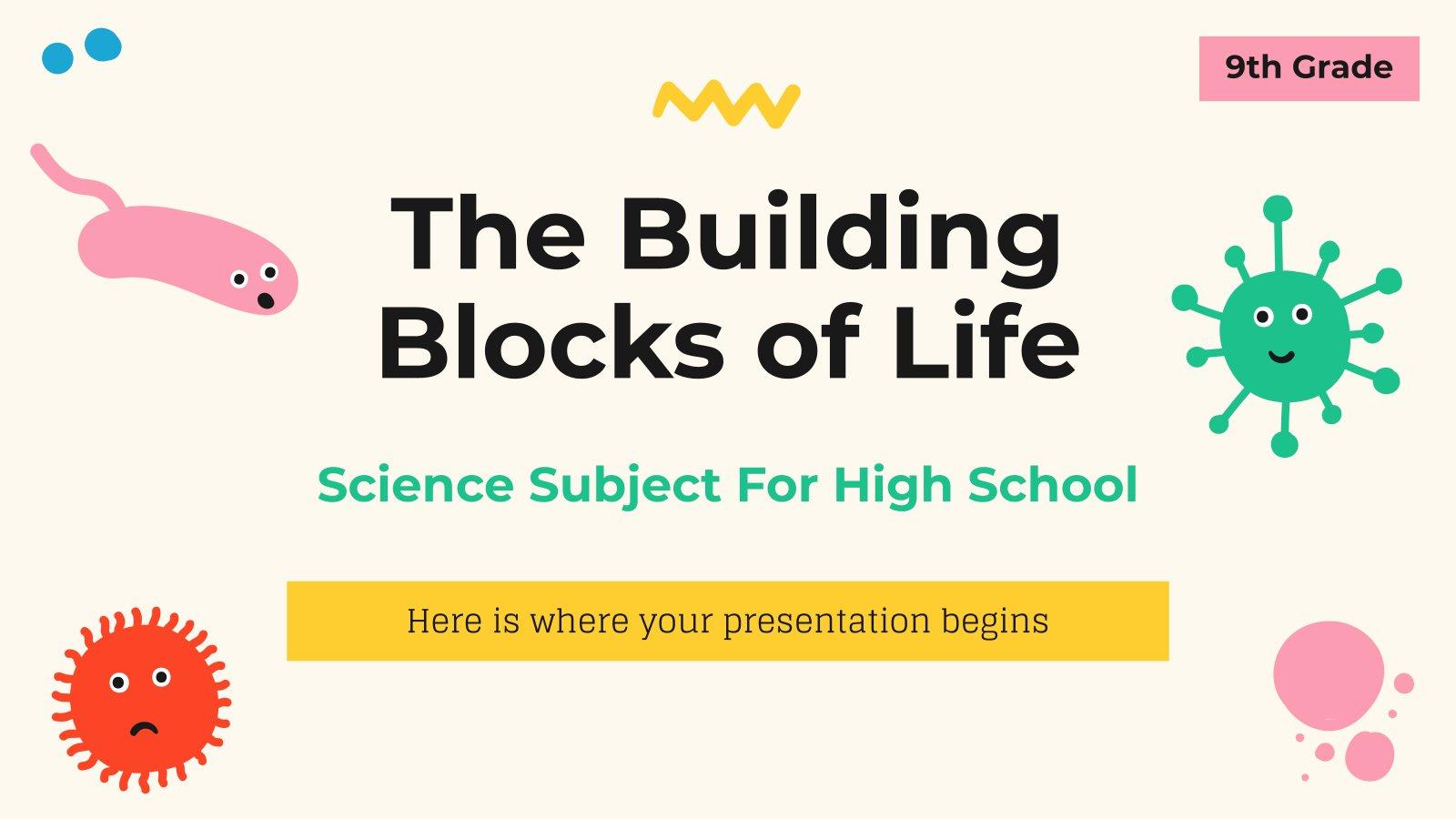 Plantilla de presentación Ciencias para secundaria: Los bloques de construcción de la vida