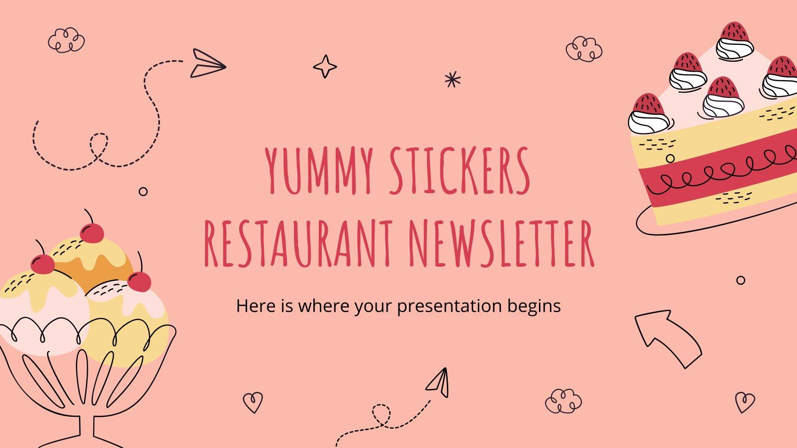 Modelo de apresentação Newsletter do restaurante com adesivos deliciosos
