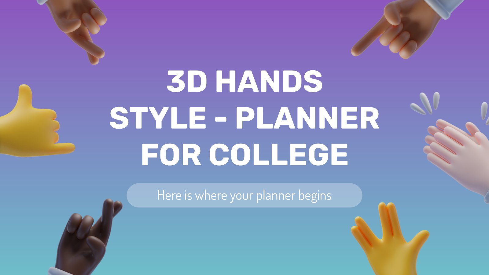 Planificateur pour le collège - Des mains 3D : Modèles de présentation