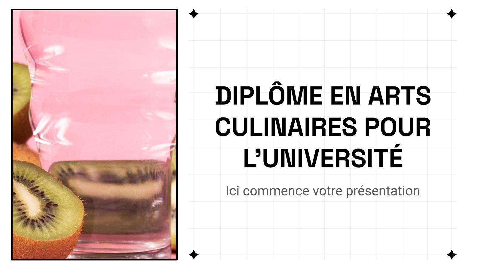 Plantilla de presentación Diplôme en arts culinaires pour l'université