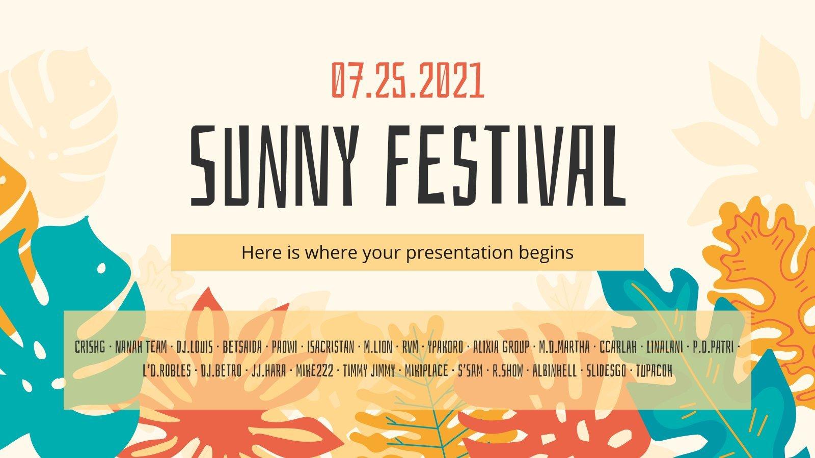 Plantilla de presentación Campaña para festival veraniego