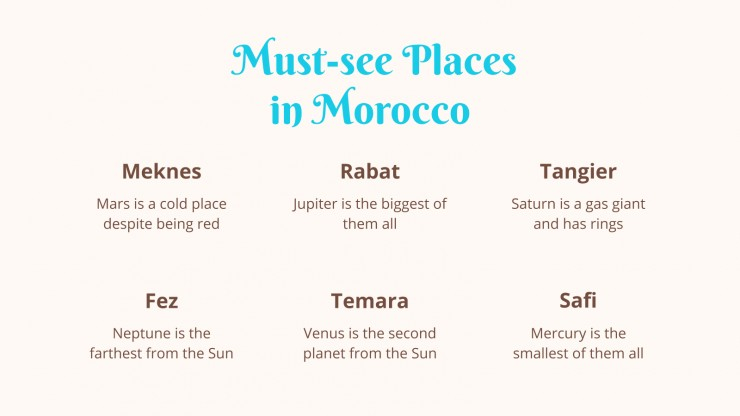 Guide de voyage : Maroc : Modèles de présentation