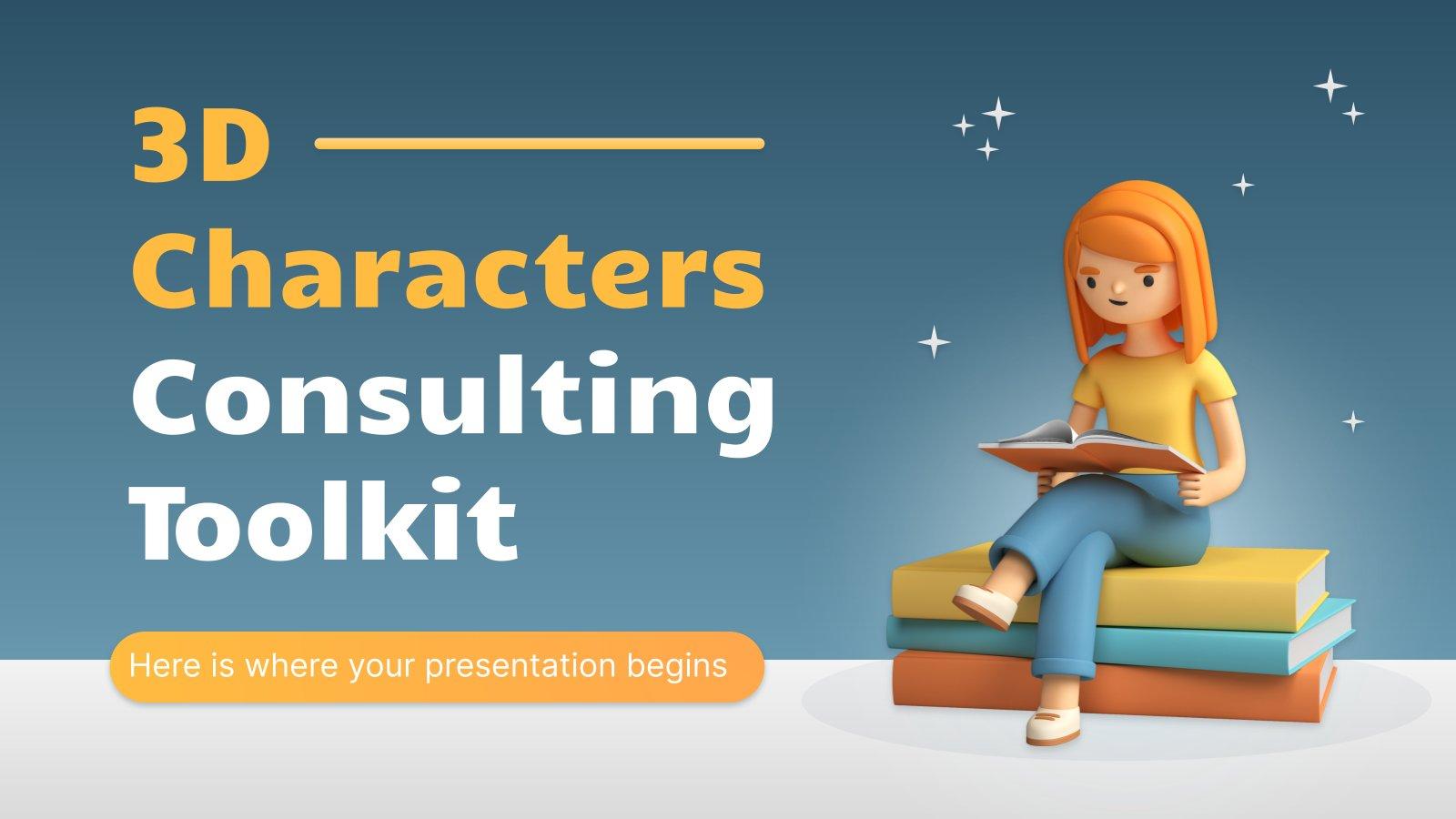 Boîte à outils de consultation avec des personnages en 3D : Modèles de présentation