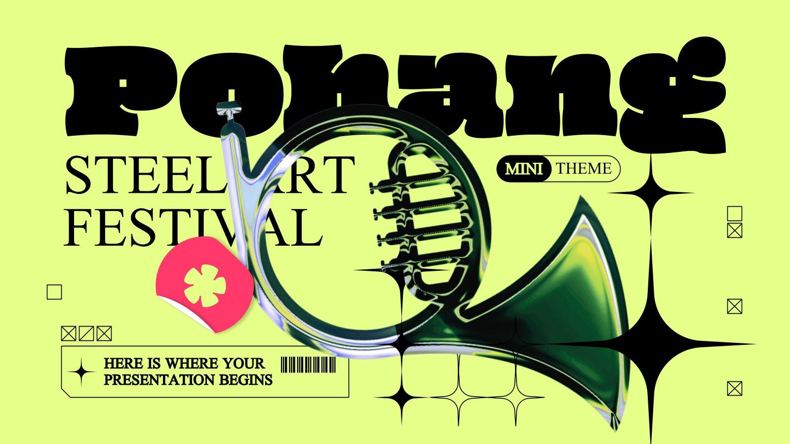 Modelo de apresentação Minitema do Festival de Arte em Aço de Pohang