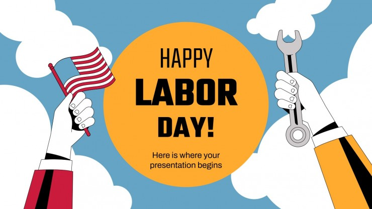Plantilla de presentación ¡Feliz día del trabajo en EE.UU.!
