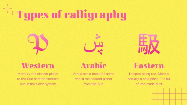Arts Subject for Middle School - 6th Grade: Calligraphy presentation template