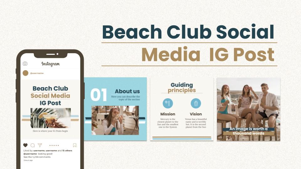 Beach Club Social Media IG Post presentation template