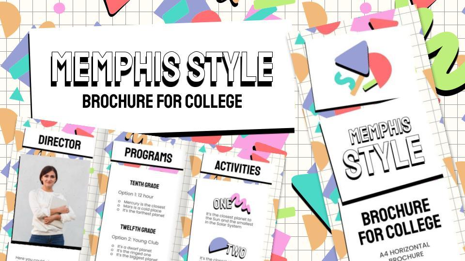 Broschüre im Memphis Stil für die Uni Präsentationsvorlage