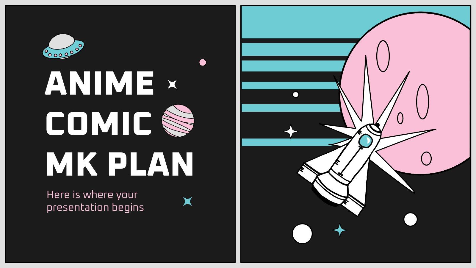 Plantilla de presentación Plan de marketing con estilo cómic