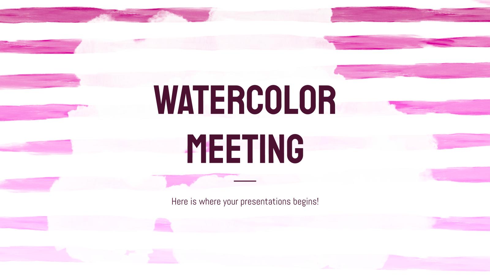 Modelo de apresentação Reunião com aquarela