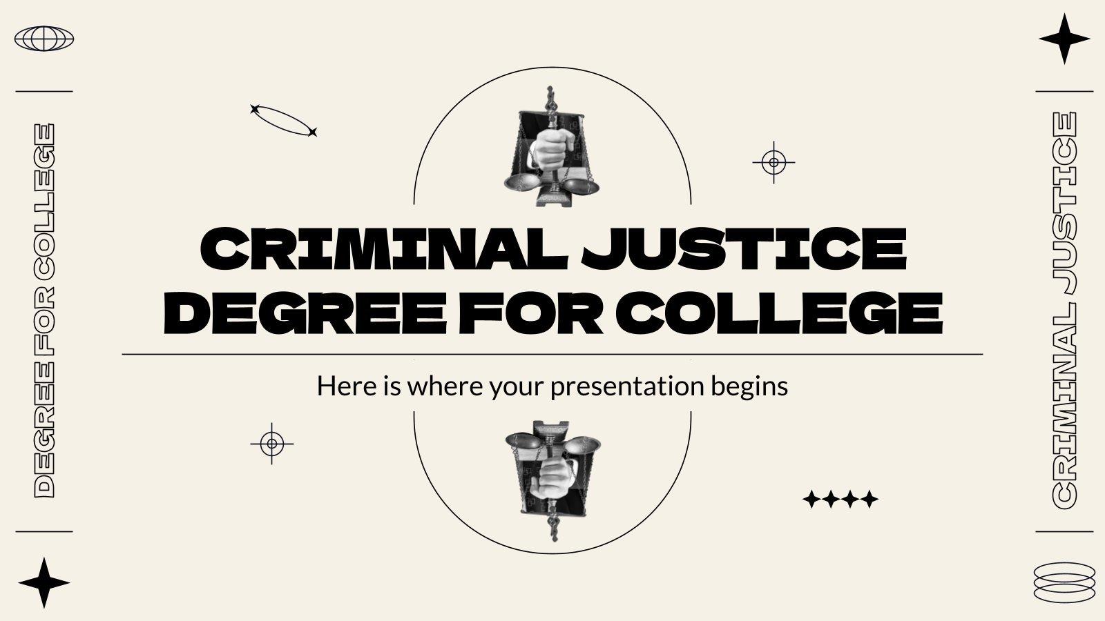 Criminal Justice Degree for College presentation template