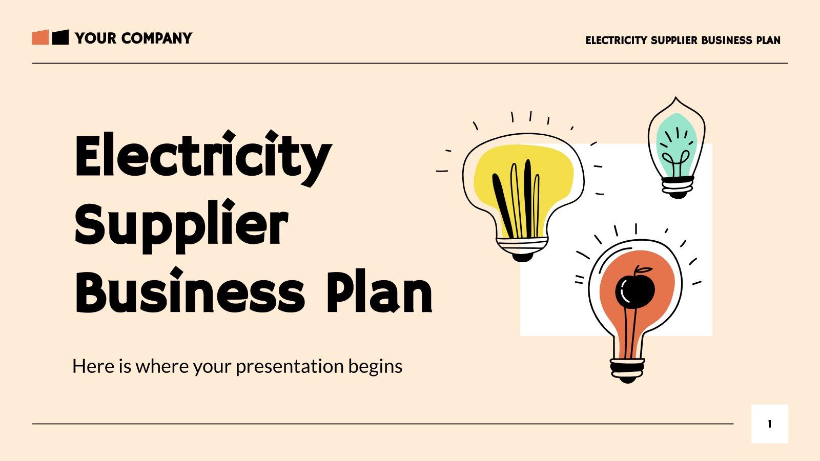 Plantilla de presentación Plan de negocios de eléctricas