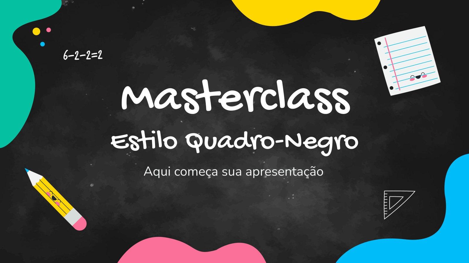 Modelo de apresentação Masterclass estilo quadro-negro