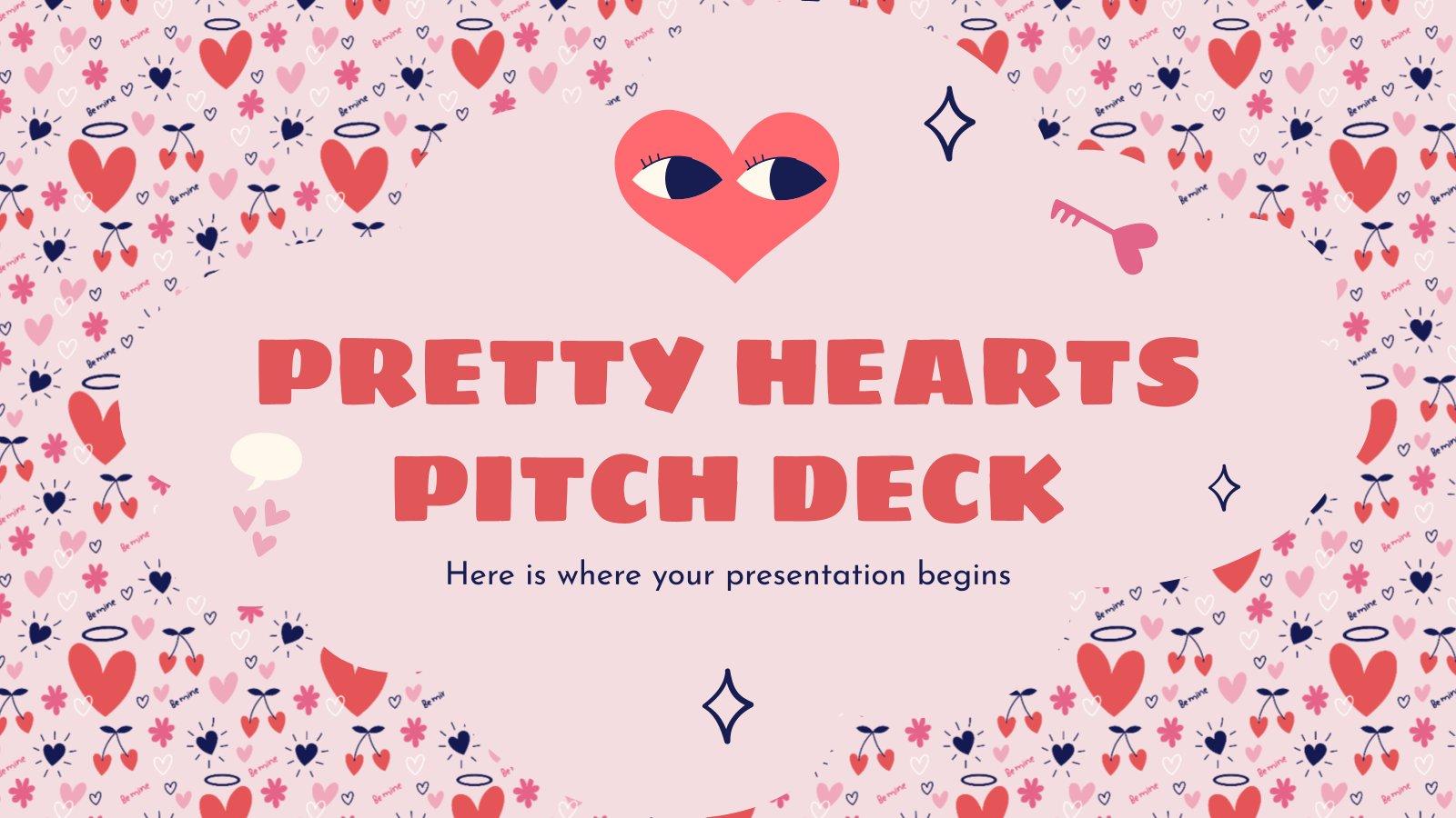 Modelo de apresentação Pitch deck corações bonitos