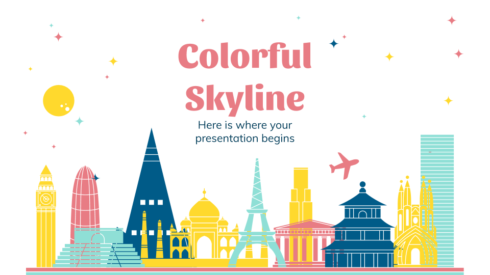 Colorful Skyline presentation template