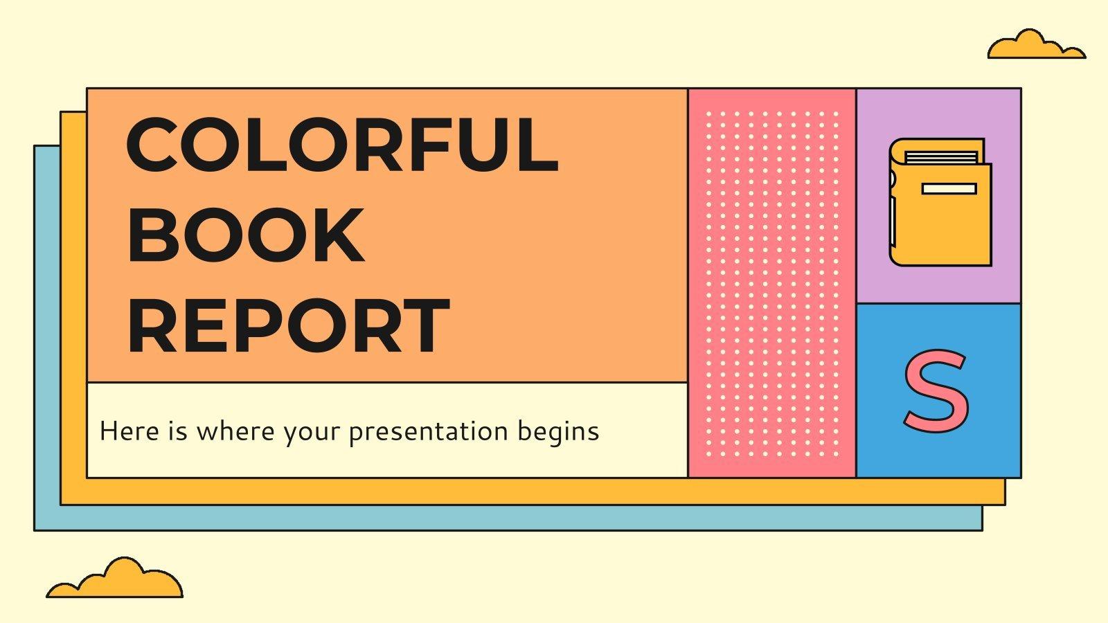 Plantilla de presentación Colorido informe sobre libros