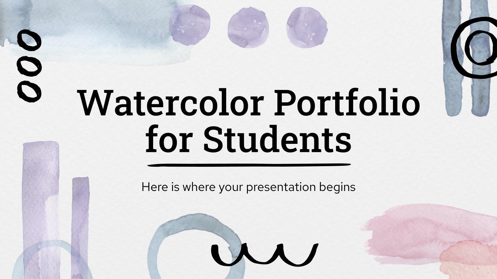 Modelo de apresentação Portfólio de aquarela para alunos