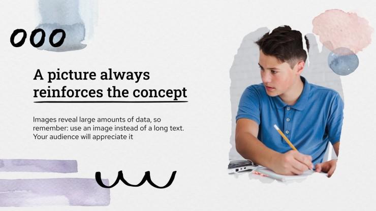 Plantilla de presentación Portafolio de acuarela para estudiantes