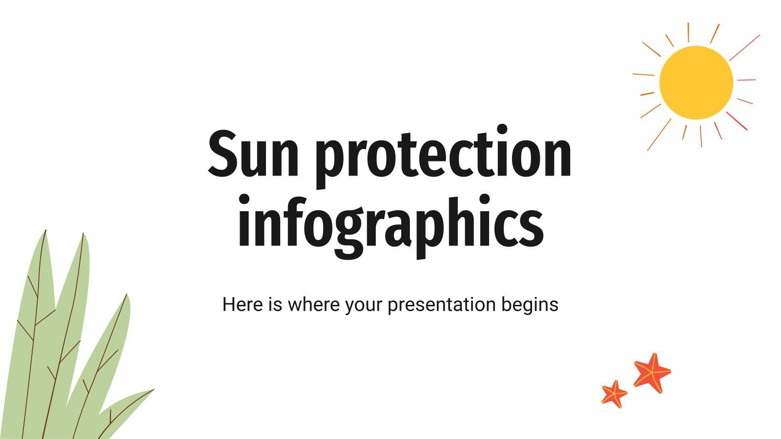 Modelo de apresentação Infográficos de proteção solar