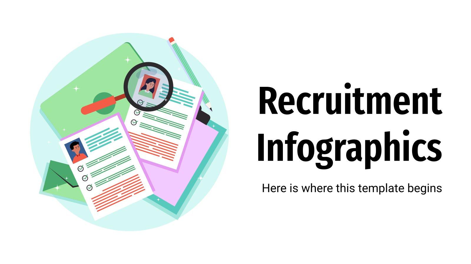 Modelo de apresentação Infográficos de recrutamento
