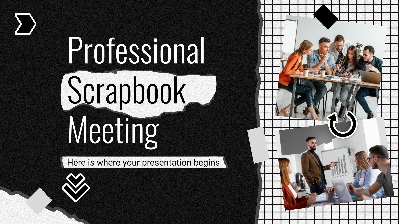 Plantilla de presentación Reunión profesional estilo scrapbook