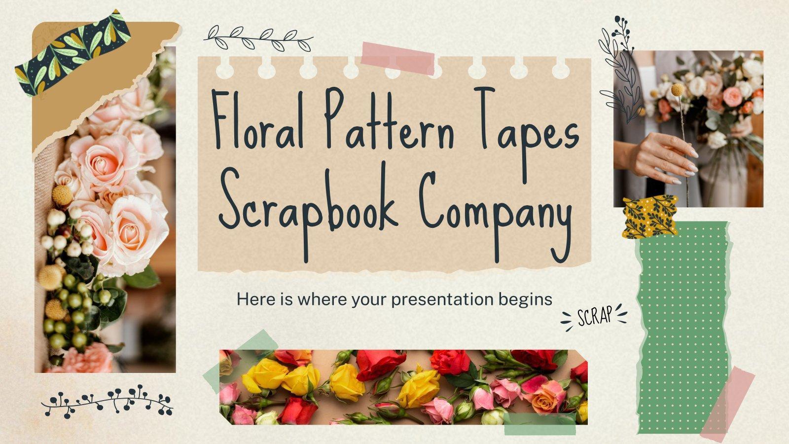 Plantilla de presentación Perfil de empresa cintas con motivos florales para álbumes de recortes