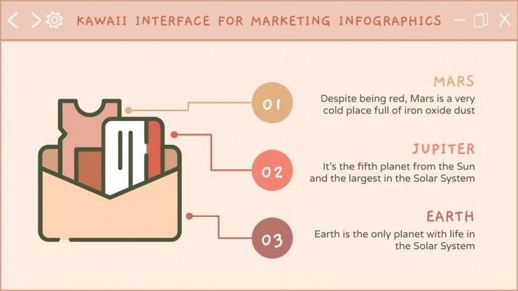 Infographies inteface kawaii pour marketing : Modèles de présentation