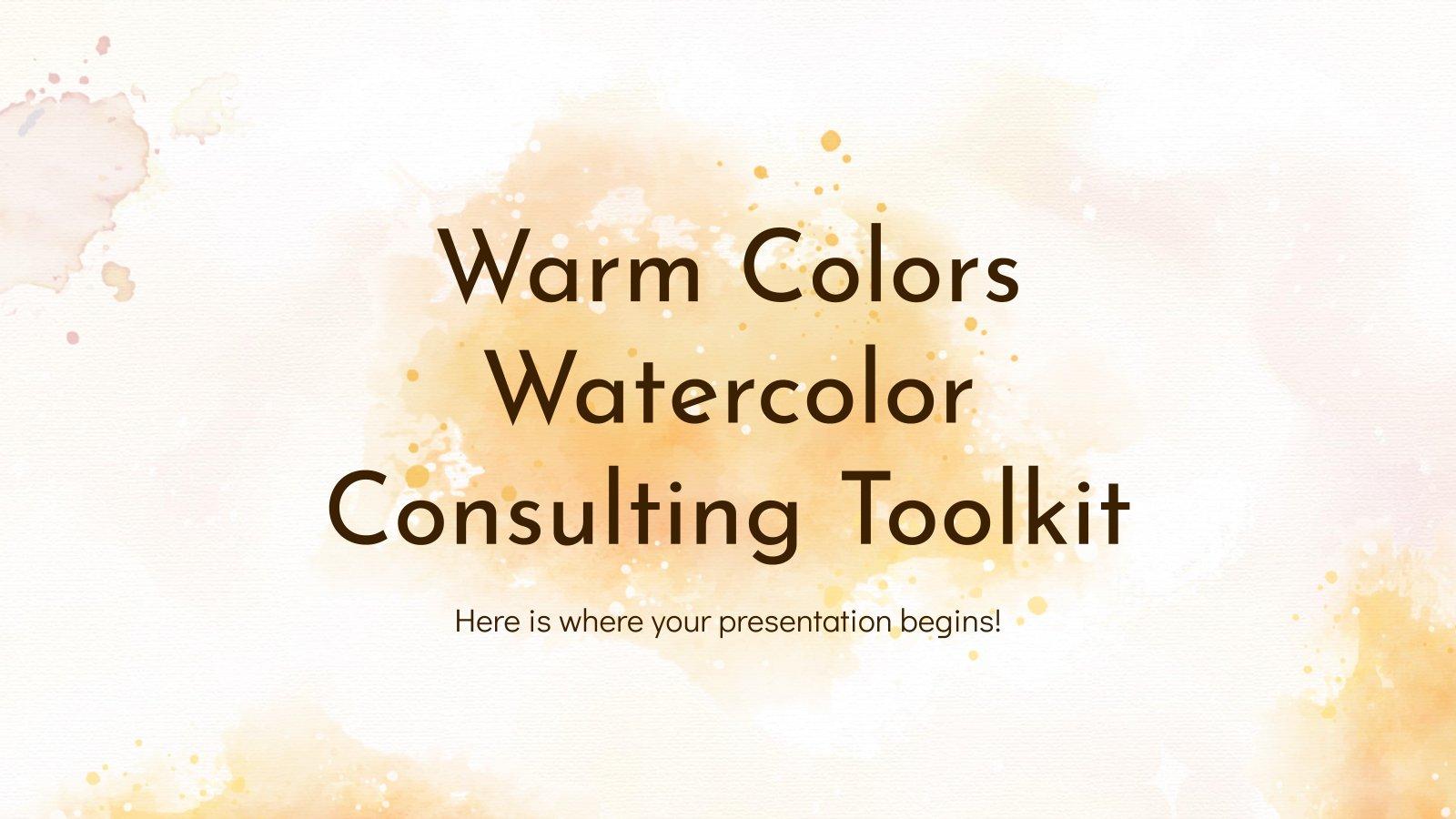 Plantilla de presentación Herramientas de consultoría con acuarelas y colores cálidos