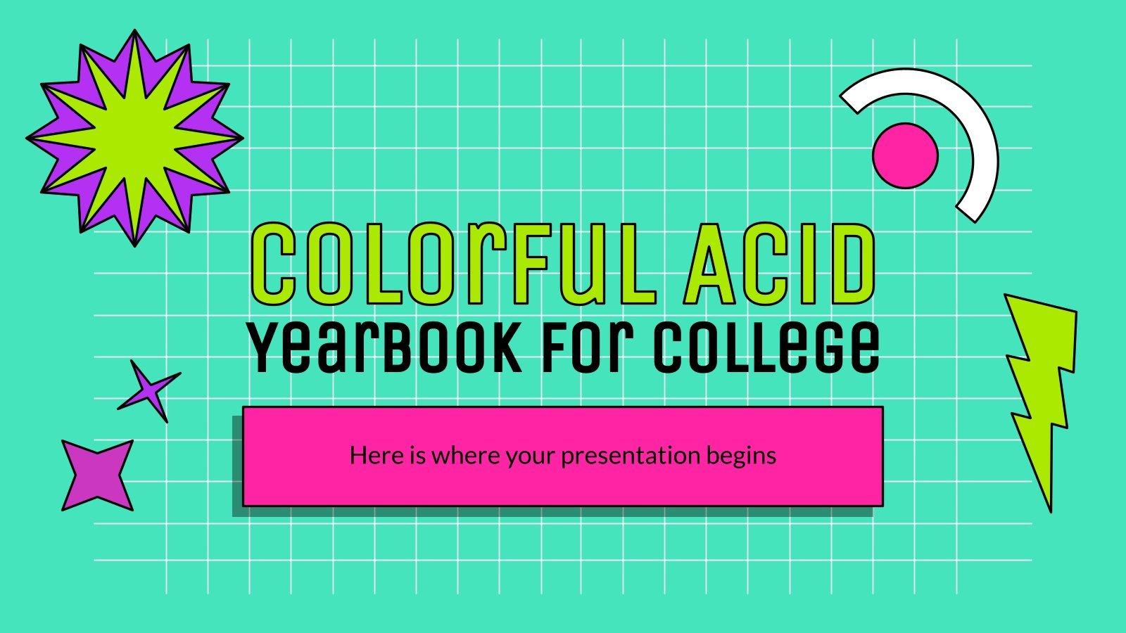 Plantilla de presentación Anuario de colores ácidos para la universidad