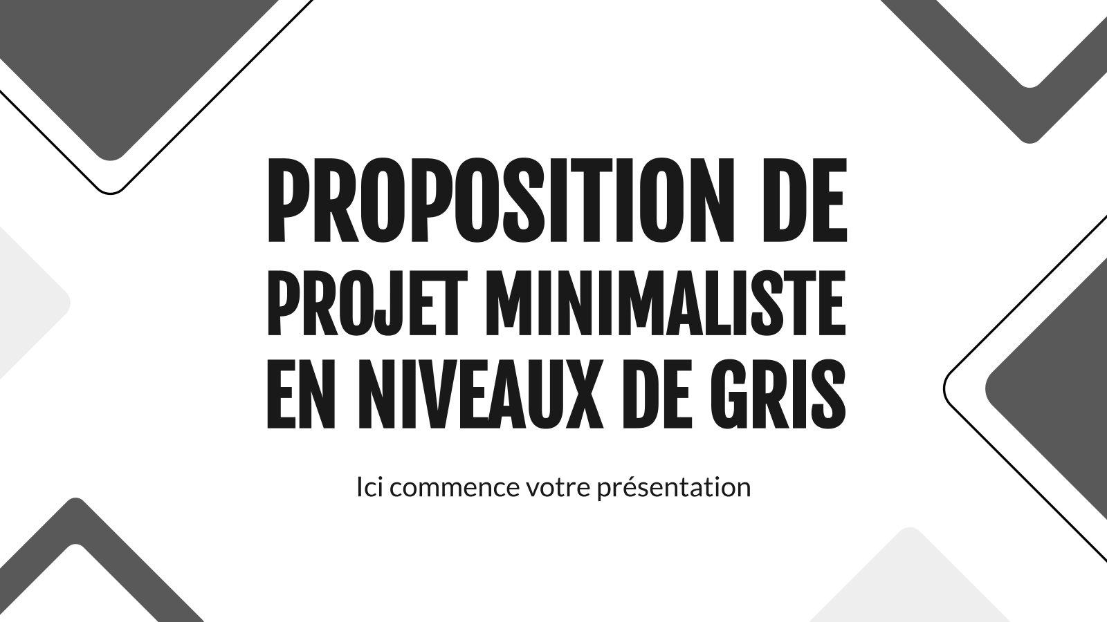 Proposition de projet minimaliste en niveaux de gris : Modèles de présentation