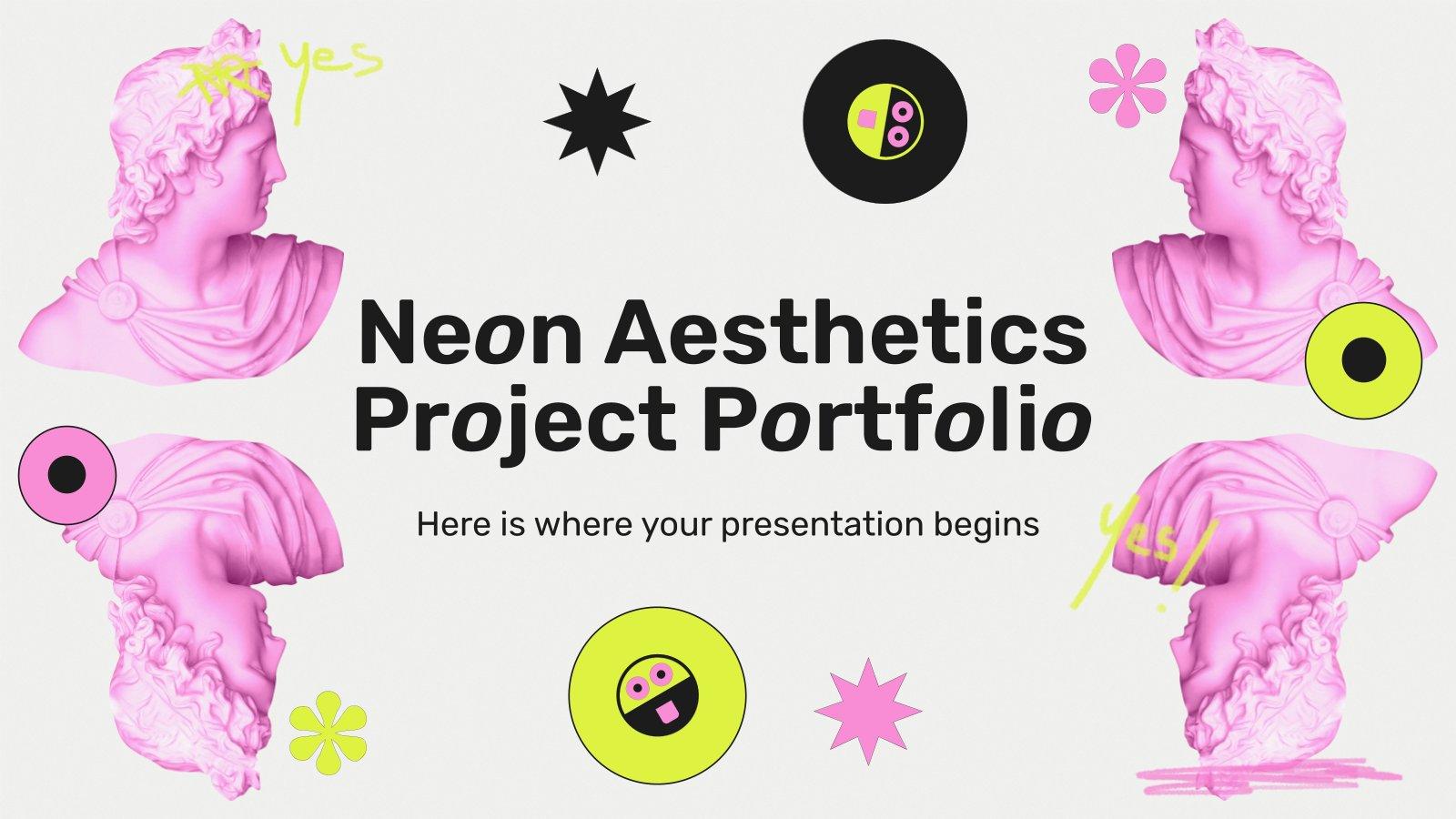 Neon Aesthetics Projekt Portfolio Präsentationsvorlage