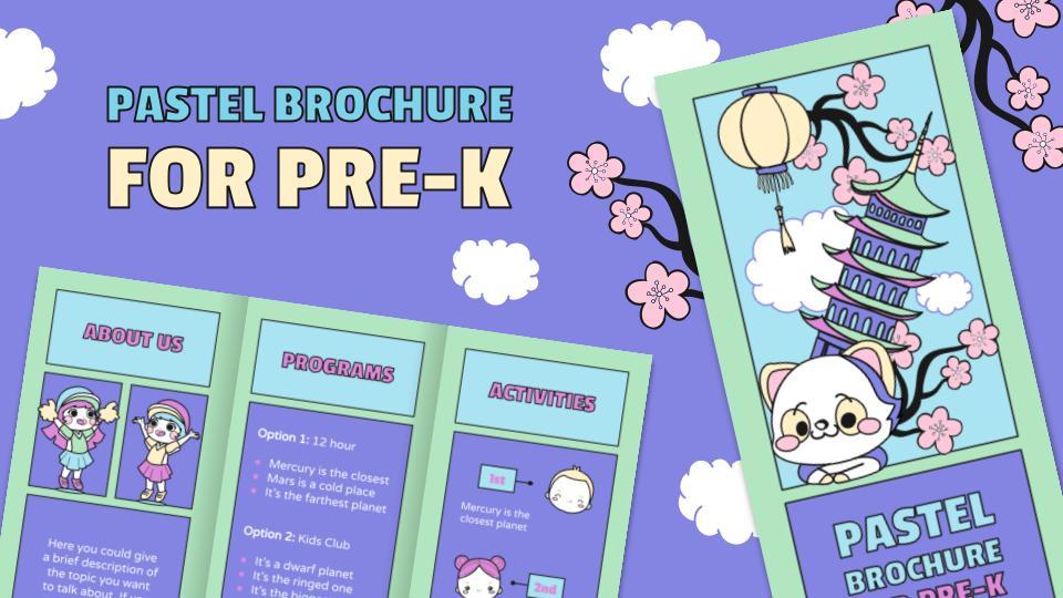 Brochure pastel pour les maternelles : Modèles de présentation