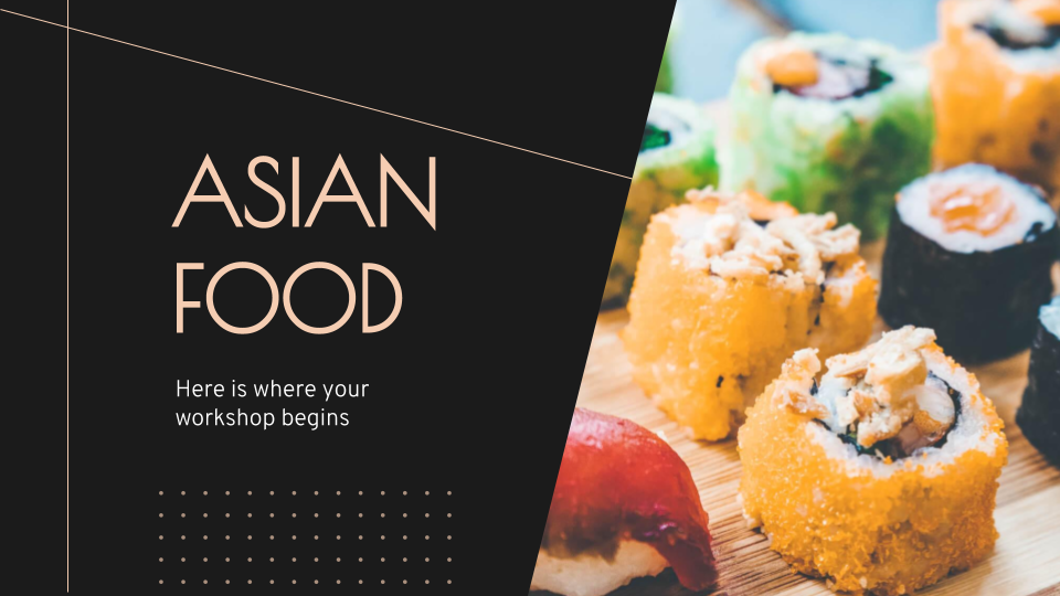 Plantilla de presentación Taller de cocina asiática