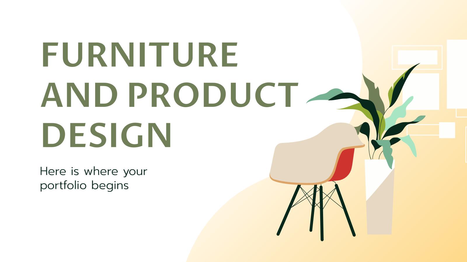 Modelo de apresentação Portfólio de design de produtos e móveis
