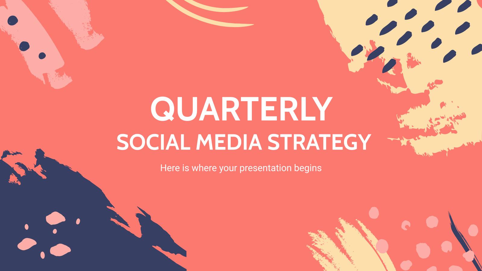 Modelo de apresentação Estratégia trimestral de mídia social