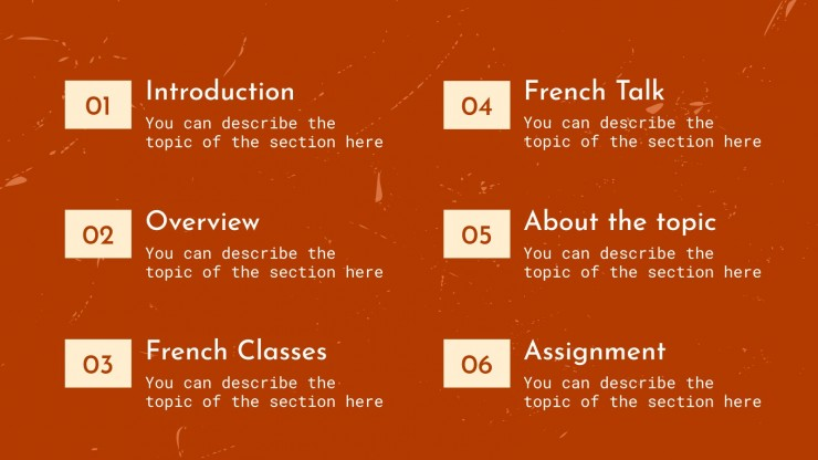 Französischunterricht Präsentationsvorlage