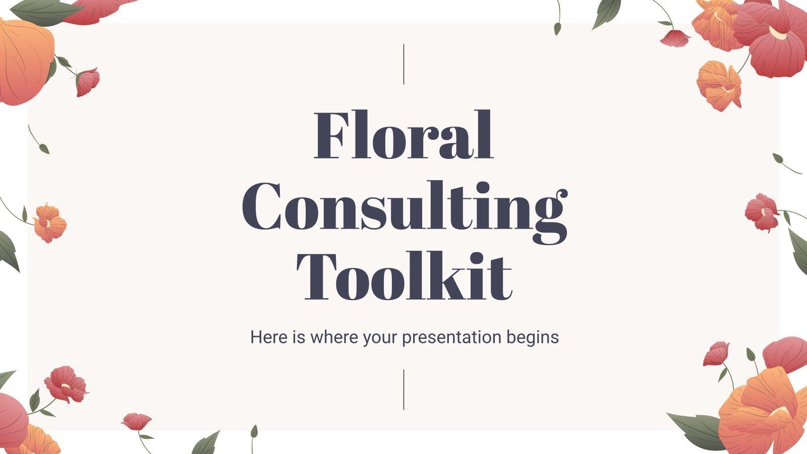Plantilla de presentación Herramientas de consultoría con diseño floral