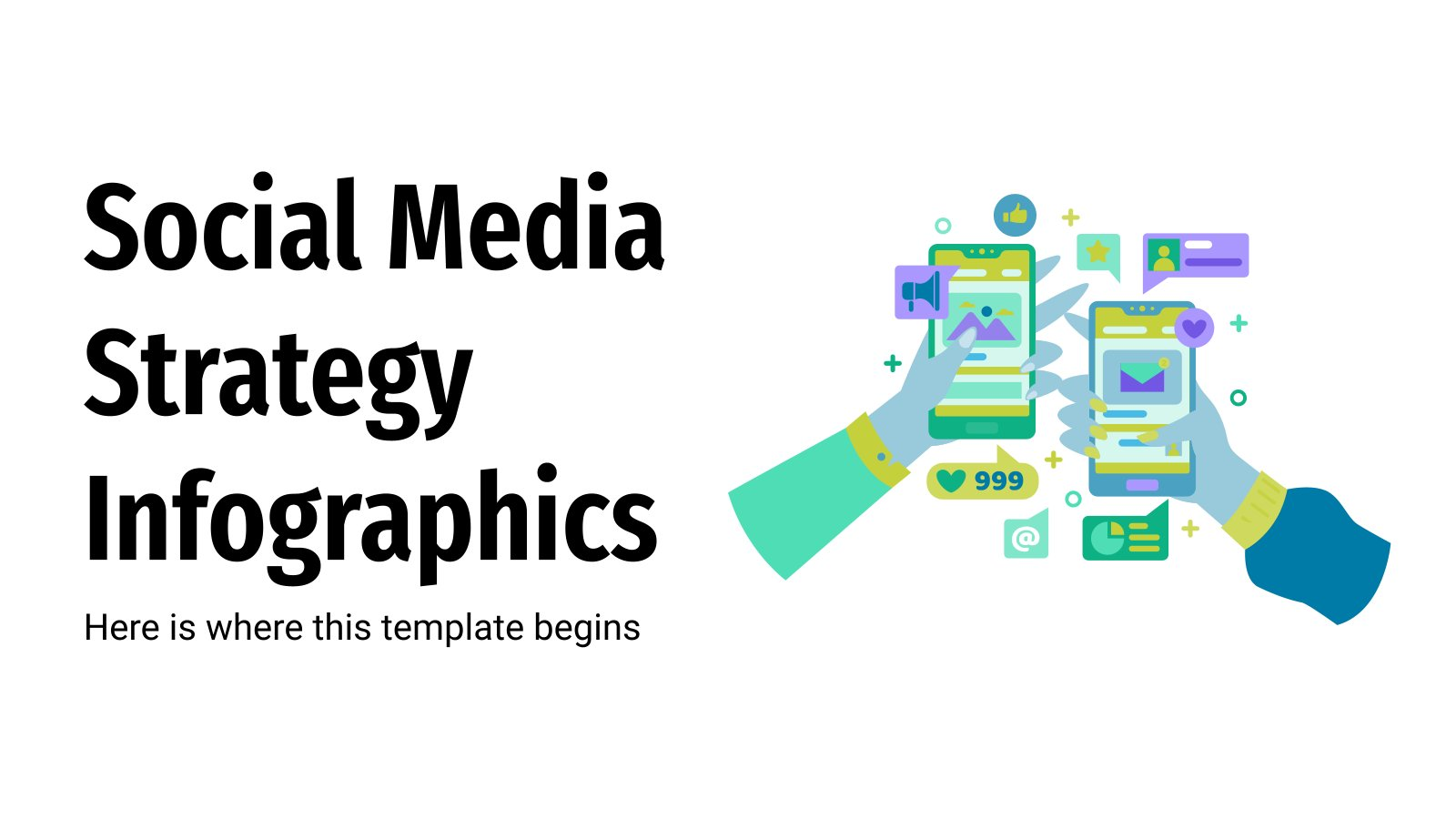 Soziale Medien Strategie Infografiken Präsentationsvorlage