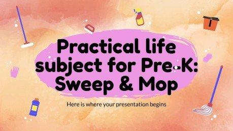 Modelo de apresentação Vida prática para pré-escola: Varrer e esfregar