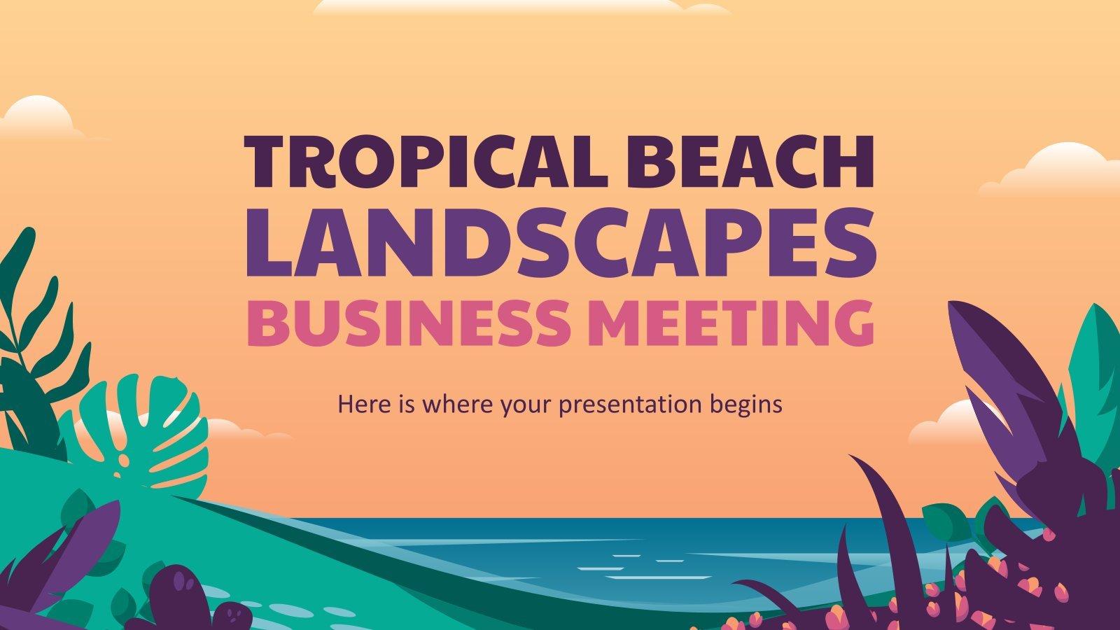 Modelo de apresentação Reunião de negócios de paisagens de praia tropical