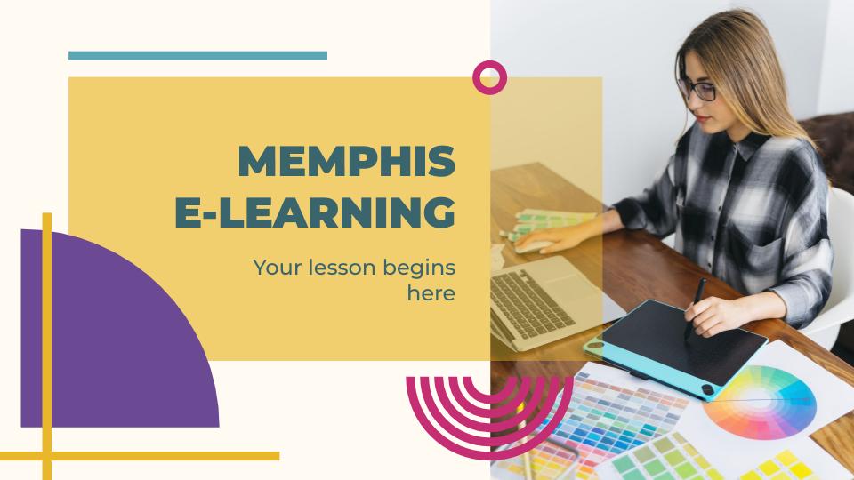 Modelo de apresentação Aulas online estilo Memphis