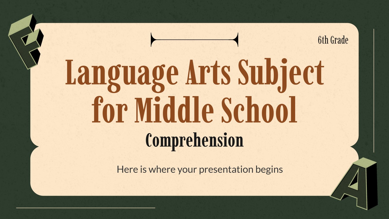 Plantilla de presentación Lengua y Literatura para primaria: Comprensión